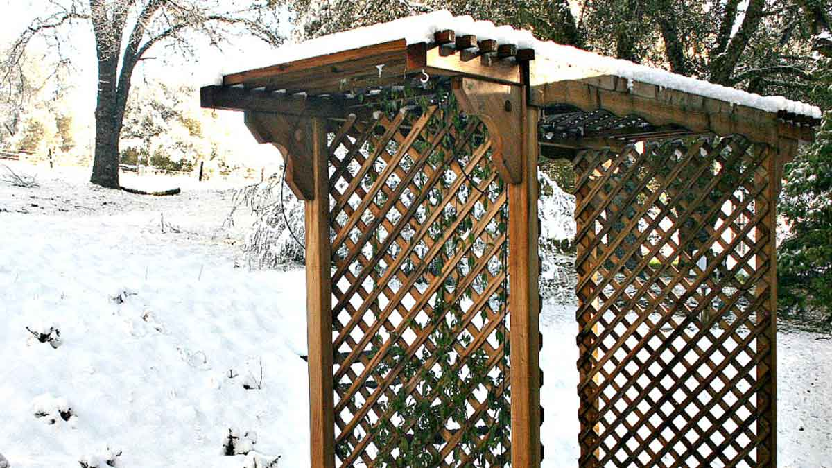 A wooden trellis covered in fresh white snow with snow covered trees in the background.