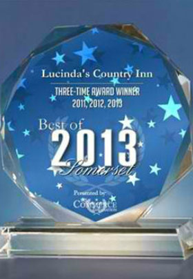 Lucinda's Country Inn Blue Round Award for 2013 for 3 years in a row for Somerset