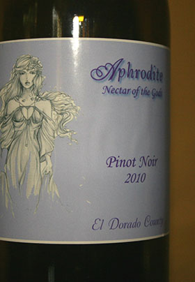 A bottle of wine with the label of Aphrodite Wine