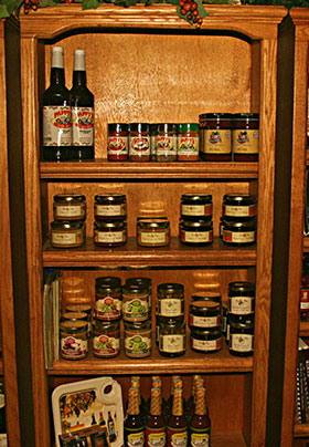 Oak wood Shelves with packaged food products on the shelves